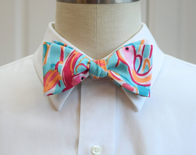 Men's Bow Tie, Peel and Eat flamingo Lilly print, pink turquoise bow tie, wedding bow tie, groom bow tie, groomsmen gift, Florida bow tie