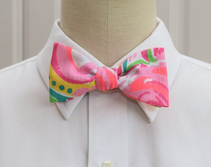 Men's Bow Tie, All Nighter pink/coral/green/yellow Lilly print ,groomsmen/groom bow tie, wedding bow tie, Kentucky Derby tie, prom bow tie