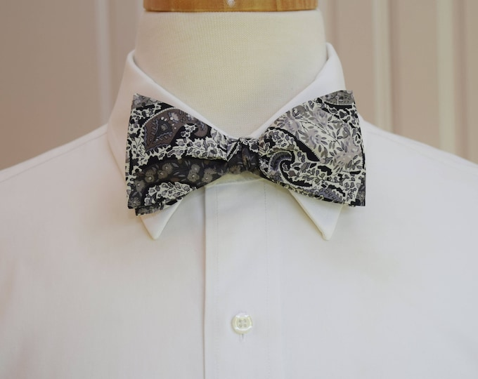 Men's Bow Tie, Liberty of London, classic gray/black/ivory paisley Bourton bow tie, groomsmen/groom bow tie, wedding bow tie, tux accessory