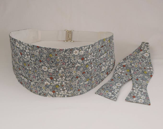 Men's cummerbund & bow tie set, Liberty of London gray floral June's Meadow fabric, wedding party attire, tux accessory, groom formal wear,