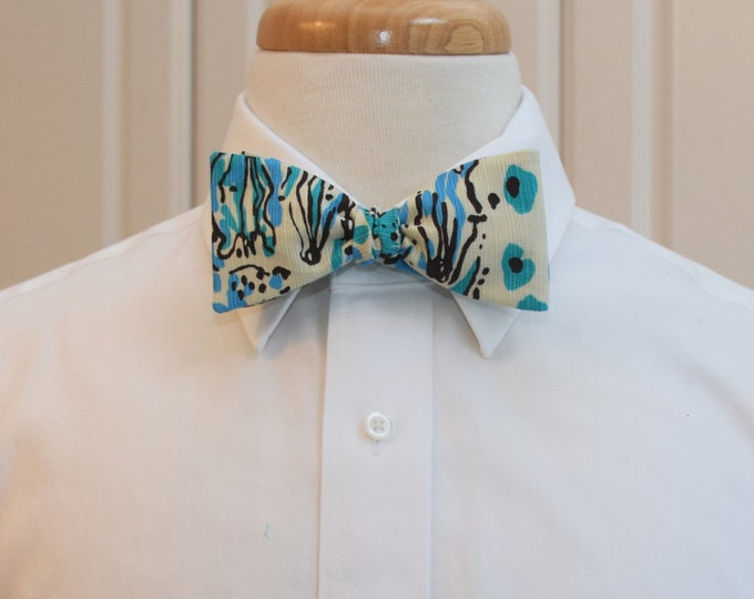 Men's Bow Tie, Escapades in the Everglades Lilly print, turquoise/ivory abstract animals, wedding/groom/groomsmen bow tie, zoo bow tie