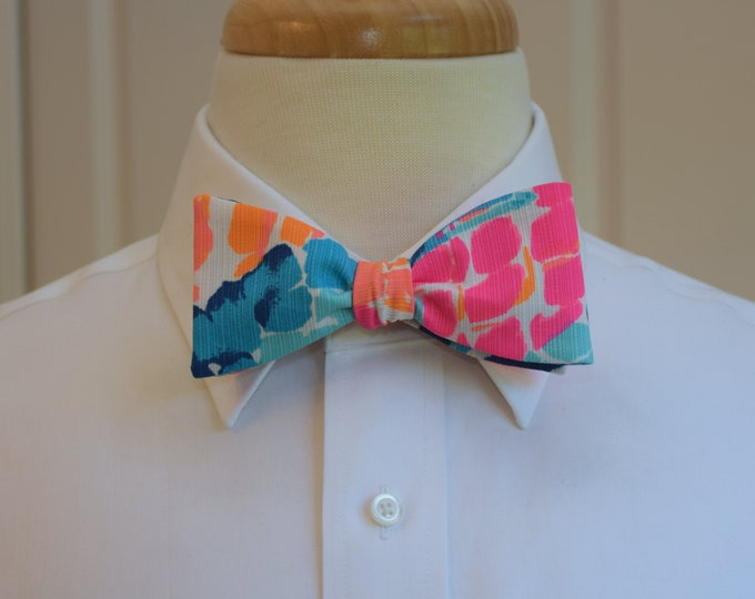 Men's Bow Tie, Goombay Smashed blues/pink/orange  Lilly 2017 print, groom/groomsmen bow tie, Kentucky Derby bow tie, prom/wedding bow tie