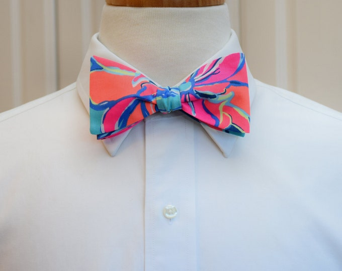 Men's Bow Tie, Breezy Babe Lilly print, neon bright bow tie, prom bow tie, Kentucky Derby bow tie, groom bow tie, wedding bow tie, self tie
