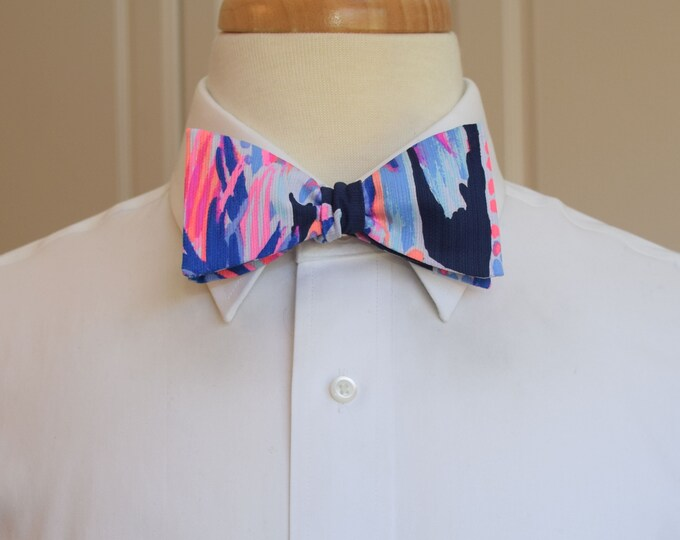 Men's Bow Tie, navy/neon hot pinks/cobalt Lilly Palms Up print, groomsmen/groom bow tie, wedding bow tie, prom bow tie, Carolina Cup/Derby