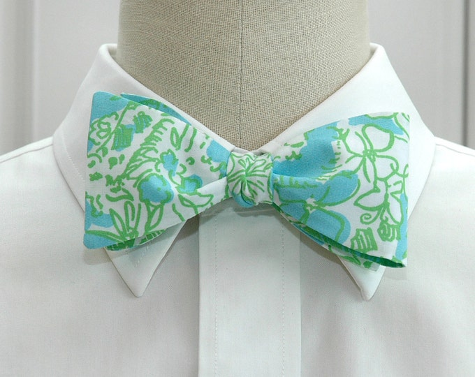 Men's Bow Tie, It's a Zoo aqua/green/white animal Lilly print, groomsmen gift, wedding bow tie, groom bow tie, prom bow tie, tux accessory