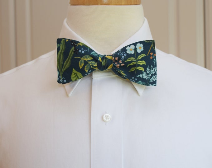 Men's Bow Tie, Rifle Paper Co. Amalfi Herb Garden floral bow tie, wedding bow tie, groom/groomsmen bow tie, peach/aqua/green/blue bow tie
