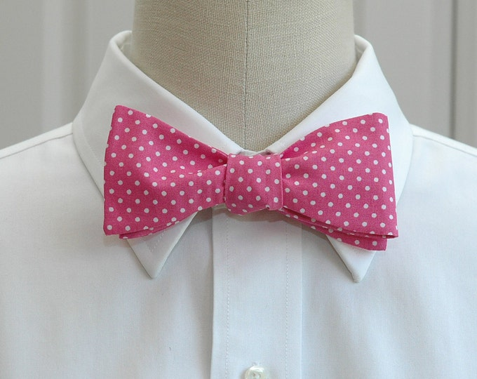 Men's Bow Tie, hot pink with white mini dots, rose pink bow tie, wedding bow tie, groom bow tie, groomsmen gift, prom bow tie, tux accessory