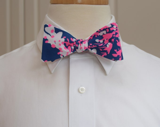 Men's Bow Tie, Nauti Navy Beyond the Sea navy/pink Lilly print, wedding bow tie, groom/groomsmen bow tie, Carolina Cup tie, Derby bow tie
