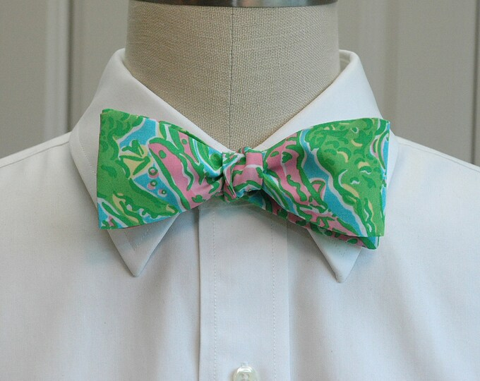 Men's Bow Tie, Chomp Chomp pink, green & aqua Lilly alligator print, wedding bow tie, groom bow tie, groomsmen gift, Florida bow tie,