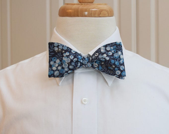 Mens Bow Tie, Liberty of London, blue/navy Wiltshire berries motif bow tie, groomsmen/groom bow tie, wedding bow tie, tuxedo accessory
