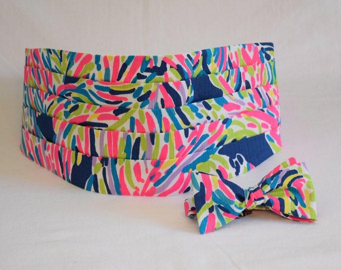 Cummerbund & Bow Tie, indigo/hot pink/multi Palm Reader Lilly print, groom formal wear, wedding party wear, tux accessory, prom cummerbund