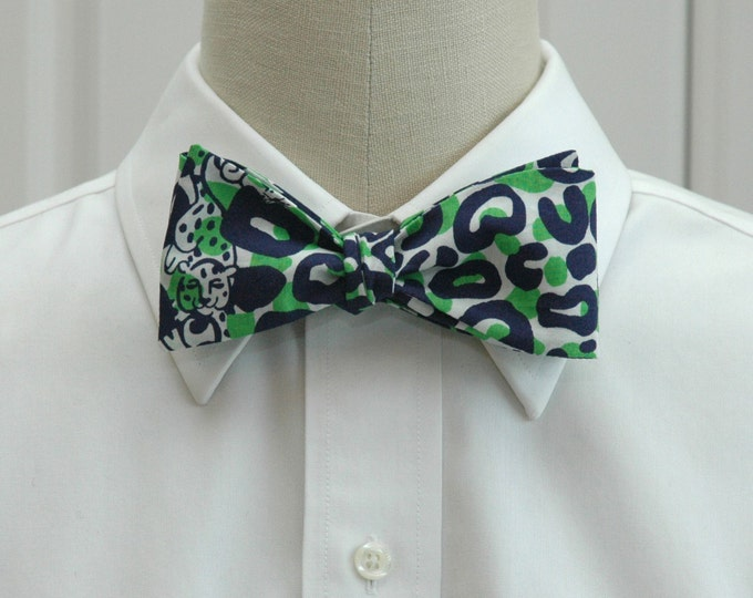Men's Bow Tie, Thrill of the Chaise, navy blue/green/white leopard print Lilly bow tie, wedding bow tie, groom/groomsmen bow tie, prom tie