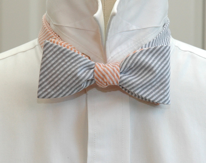 Men's Reversible Bow Tie in grey orange seersucker, self tie, wedding party tie, groom bow tie, groomsmen gift, wedding accessory, mixer tie