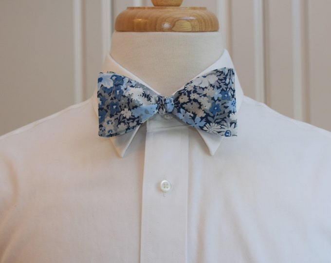 Men's Bow Tie, Liberty of London blues/grey floral Thorpe print, groom/groomsmen/wedding bow tie, classic English bow tie, tux accessory