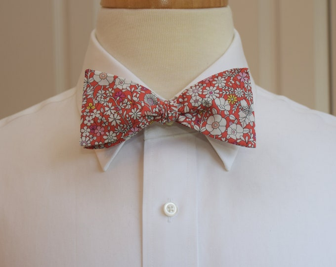 Men's Bow Tie, Liberty of London red/ivory floral June's Meadow print, groomsmen/groom bow tie, wedding bow tie, classic tuxedo accessory