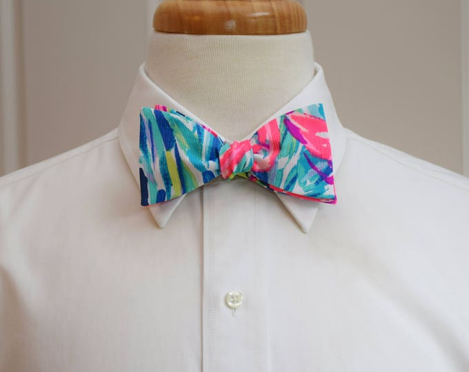 Men's Bow Tie, Flamenco Beach hot pink/blues Lilly print, groomsmen/groom bow tie, wedding bow tie, prom bow tie, Carolina Cup/Derby bow tie