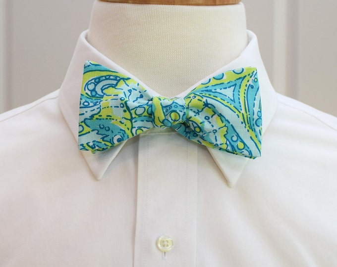 Men's Bow Tie, aqua/greens Seahorse Lilly print, wedding bow tie, beach bow tie, groom/groomsmen bow tie, prom/Kentucky Derby bow tie