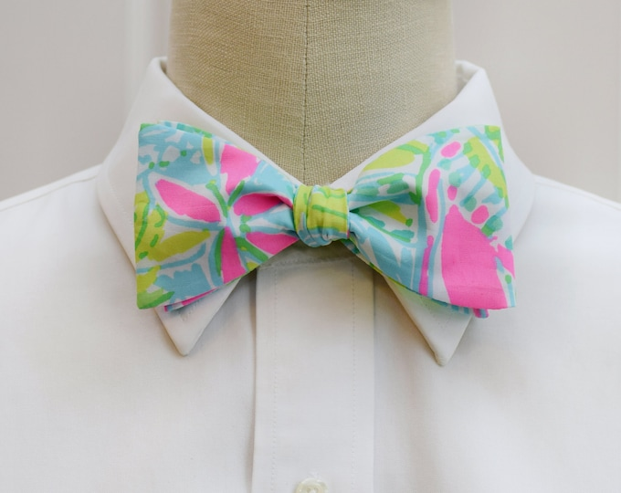 Men's Bow Tie, Coconut Jungle lime/aqua/pink Lilly print bow tie, wedding bow tie, groom/groomsmen bow tie, tropical bow tie, prom bow tie