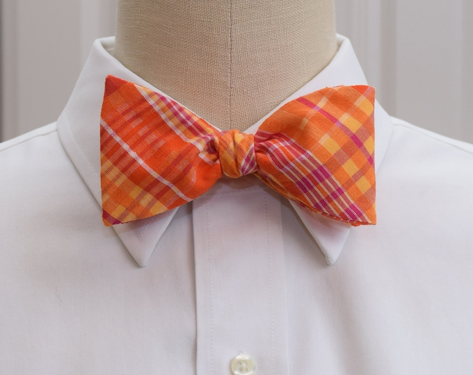 Men's Bow Tie, bright orange hot pink plaid seersucker, wedding bow tie, groom bow tie, groomsmen gift, prom bow tie, vivid Easter bow tie,
