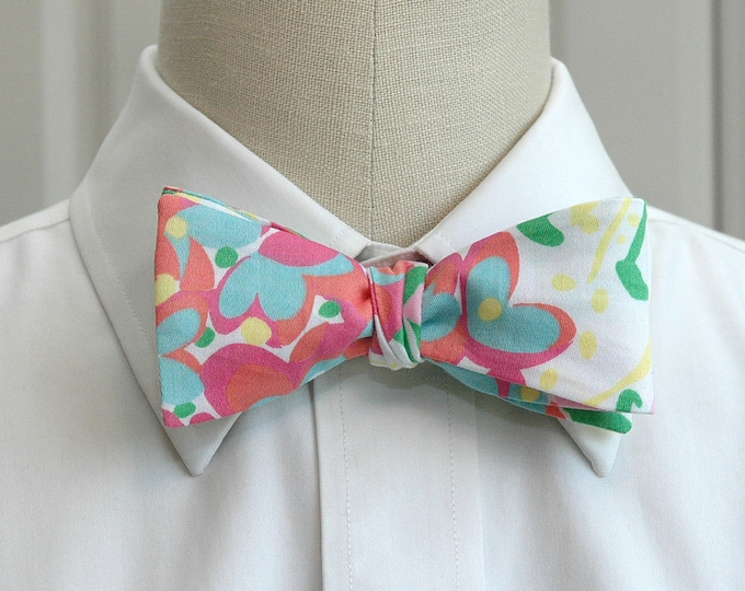 Men's Bow Tie, Mariposa multi color Lilly print, pinks/green/blue bow tie, wedding bow tie, groom bow tie, groomsmen gift, tux accessory,