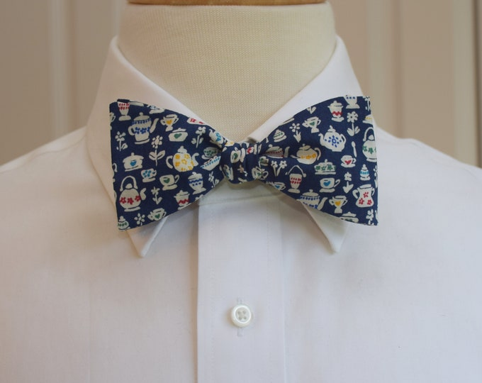 Men's Bow Tie, Liberty of London navy blue/ivory teapots design Suzy Elizabeth bow tie, wedding/groomsmen/groom bow tie, tuxedo accessory