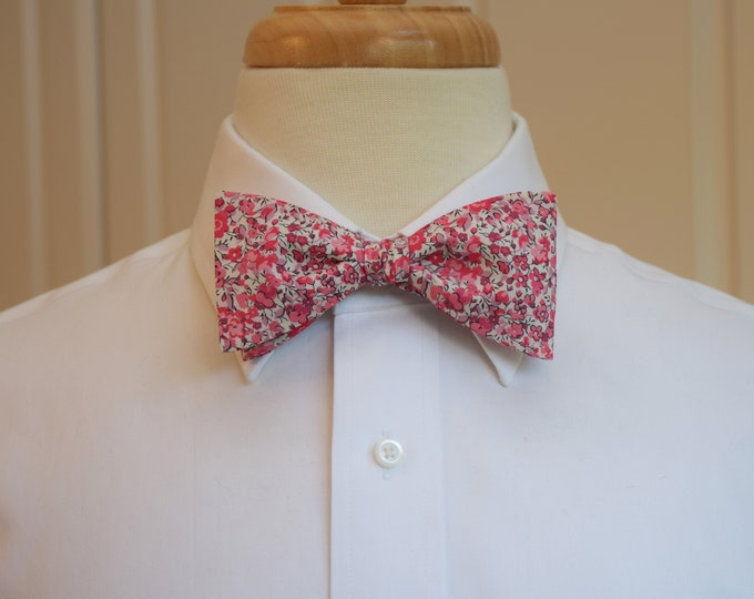 Men's Bow Tie, Liberty of London pinks/ivory floral Emma & Georgina print bow tie, groom/groomsmen/wedding bow tie, tux accessory