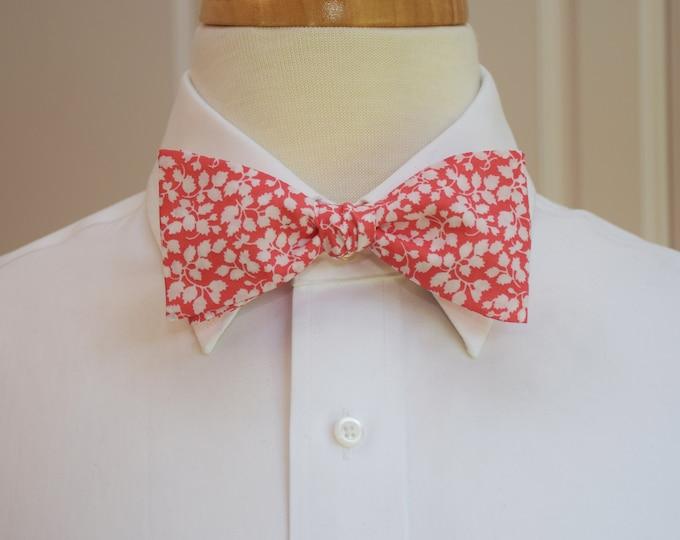 Men's Bow Tie, Liberty of London coral/orange white Glenjade print, groomsmen/groom bow tie, wedding bow tie, classic tuxedo accessory