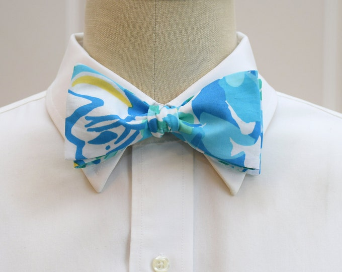 Men's Bow Tie, In A Pinch, Lilly cool blues design, aqua/blue bow tie, groomsmen's gift, wedding bow tie, groom bow tie, blue prom bow tie