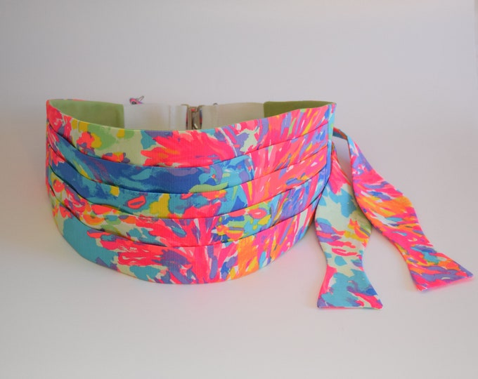 Cummerbund & Bow Tie, Palm Beach Coral aqua/blues/neon hot pink/coral Lilly print, wedding party wear, tuxedo accessory, custom cummerbund