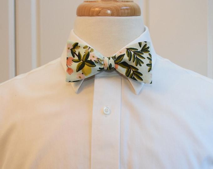 Men's Bow Tie, Rifle Paper Co Primavera citrus floral mint bow tie, peach/coral/green, wedding party, groom/groomsmen bow tie, tux accessory