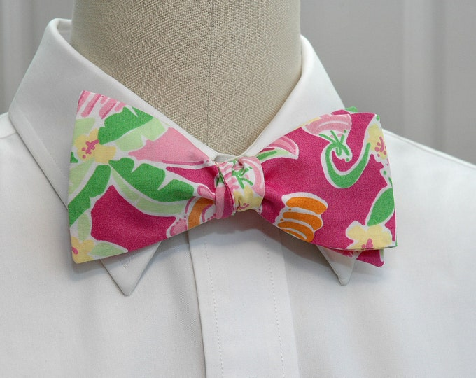 Men's Bow Tie, Slaterock House whimsical Lilly print, hot pink multi bow tie, wedding bow tie, groom bow tie, groomsmen gift, prom bow tie,
