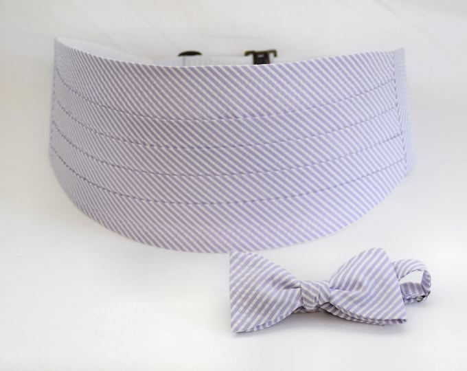 Cummerbund & Bow Tie set lavender/lilac seersucker, wedding party menswear, tuxedo accessory, groom formal wear, southern stylish wedding