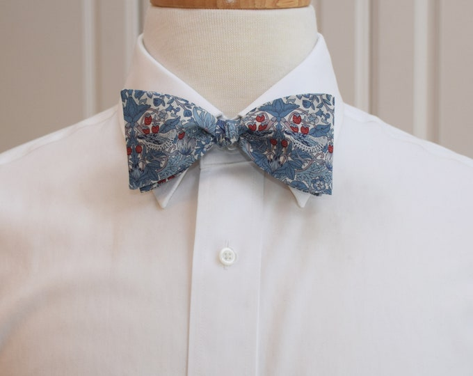 Men's Bow Tie, Liberty of London, blues/red Strawberry Thief William Morris classic print bow tie, groom/groomsmen bow tie, wedding tie