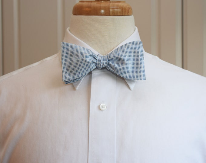 Men's Bow Tie, Carolina Blue/Tar Heel bow tie, blue/white grid design bow tie, wedding party bow tie, groom/groomsmen bow tie, blue plaid