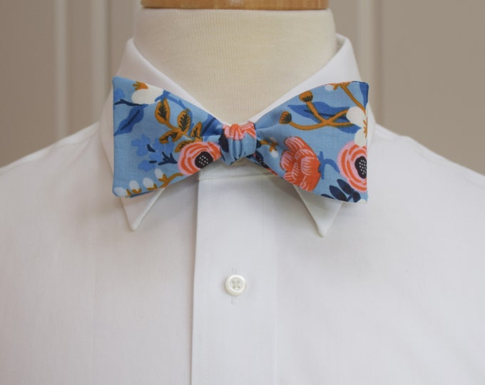 Men's Bow Tie, Rifle Paper Co. Les Fleurs periwinkle floral bow tie, wedding bow tie, groom/groomsmen bow tie, peach/coral/blues bow tie