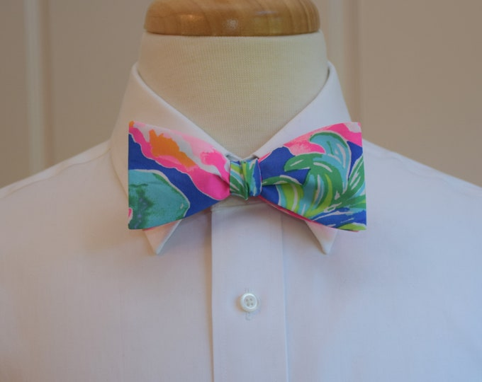 Men's Bow Tie, Jungle Utopia blue/pink/green tropical flowers Lilly 2018 print, groom/groomsmen bow tie, Derby bow tie, prom/wedding bow tie