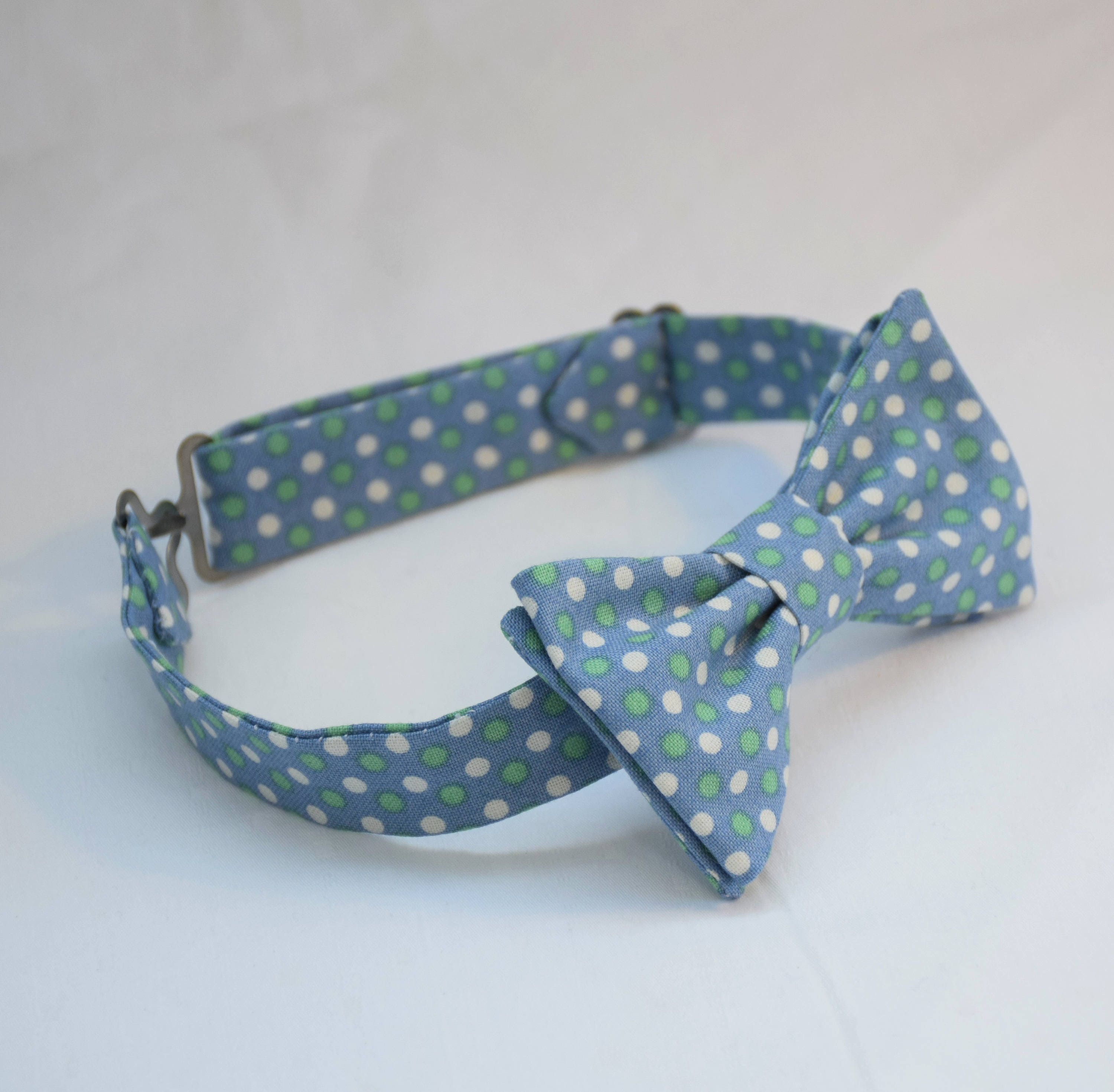 eb350911ed7f Boy's pre-tied Bow Tie, light blue/white/green dots, Easter bow tie,  wedding accessory, toddler bow tie, pastel dots child bow tie, LAST ONE