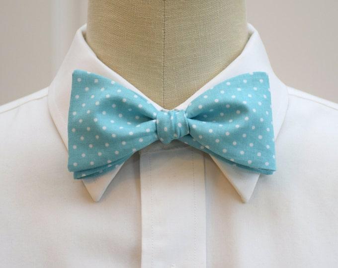 Men's Bow Tie, Caribbean blue with white mini polka dots, aqua white bow tie, wedding bow tie, groom bow tie, groomsmen gift, prom bow tie,