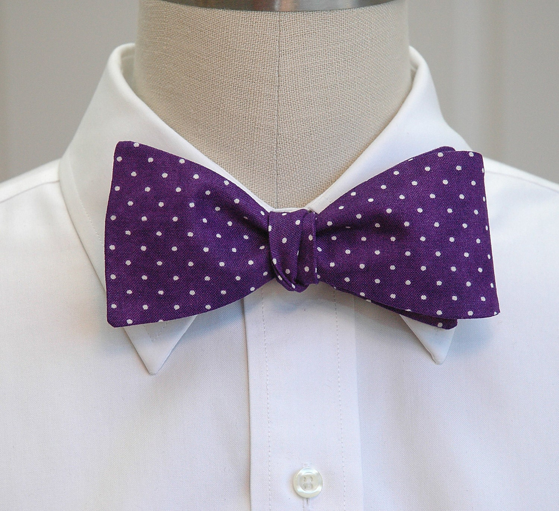 b53e553b7d36 Men's Bow Tie, purple & white pin dots bow tie, deep purple bow tie ...
