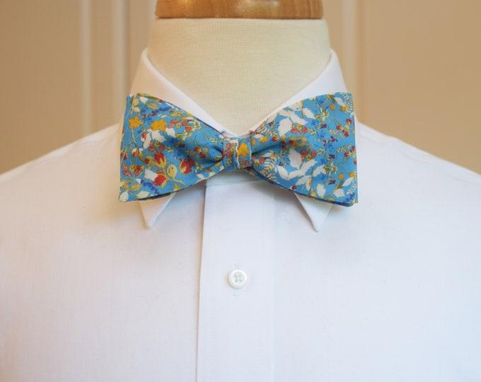 Men's Bow Tie, Liberty of London cornflower blue/ivory/orange floral Heidi Meadow self tie bow tie, groomsmen/groom bow tie, wedding bow tie