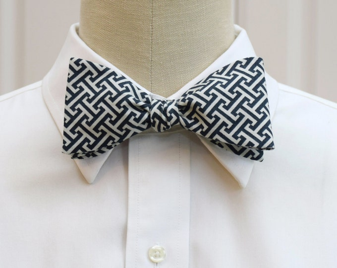 Men's bow tie, dark navy/ivory Greek key design, geometric print bow tie, wedding party wear, groom/groomsmen bow tie, greek life bow tie