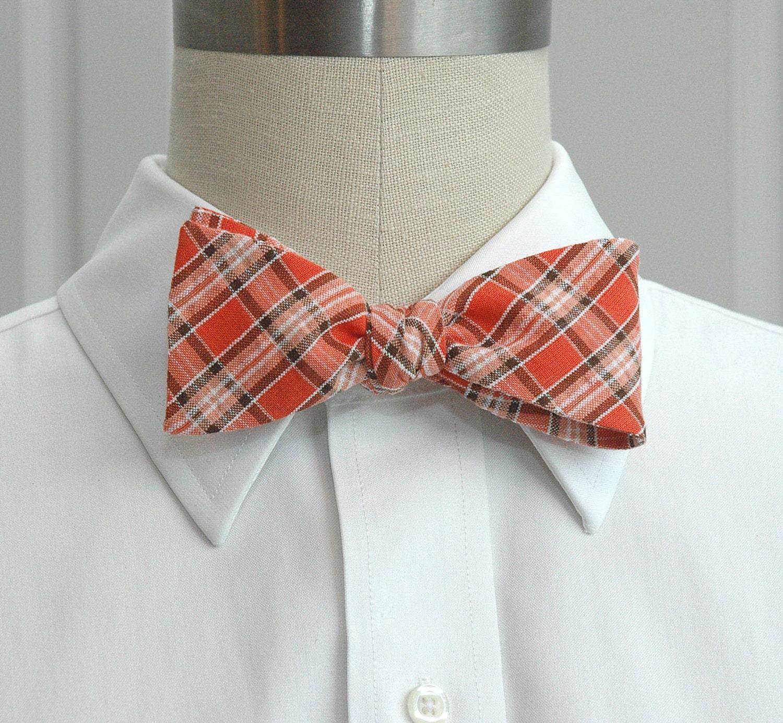 mens bow tie coral plaid seersucker bow tie orange bow