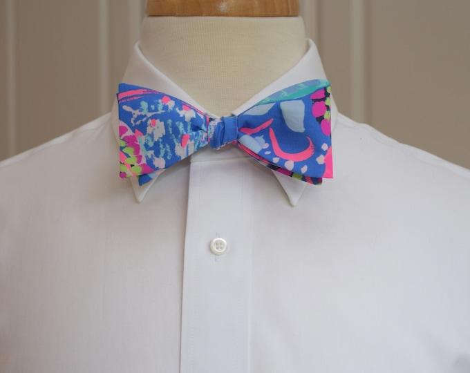 Men's Bow Tie, Fantasy Garden hot pinks/blues/lime Lilly print wedding bow tie, groom/groomsmen bow tie, Derby bow tie, tuxedo accessory