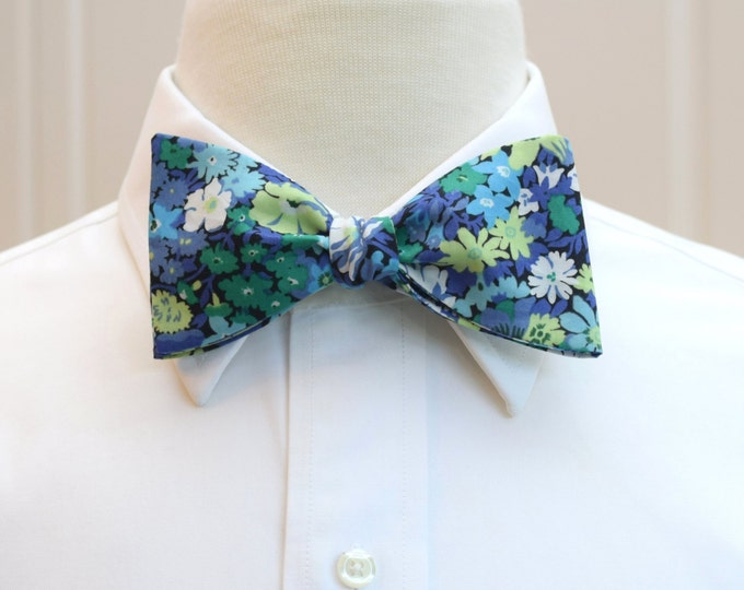 Men's Bow Tie, Liberty of London blues/greens floral Thorpe print, groom/groomsmen/wedding bow tie, classic English bow tie, tux accessory
