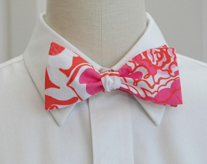 Men's Bow Tie, Orange Tango hot pink/orange Lilly print, wedding bow tie, groom/groomsmen bow tie, prom bow tie, tux accessory, Carolina Cup