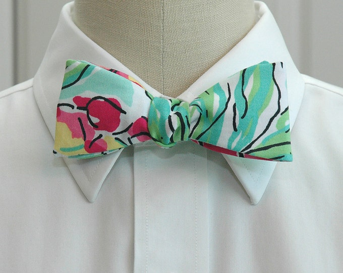 Men's Bow Tie, Spike the Punch aqua/pink/black floral Lilly bow tie, wedding party bow tie, groom bow tie, prom bow tie, tuxedo accessory