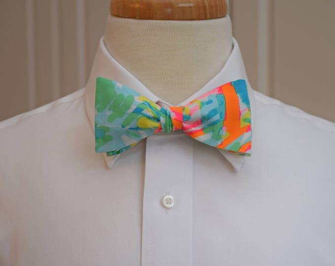 Men's Bow Tie, Sea Salt & Sun aqua/orange Lilly print, groomsmen/groom/prom bow tie, wedding bow tie, Carolina Cup/Kentucky Derby bow tie