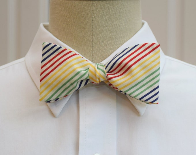 Men's Bow Tie, primary color stripes tie, geometric bow tie, wedding party bow tie, groom/groomsmen bow tie, multi color striped bow tie,