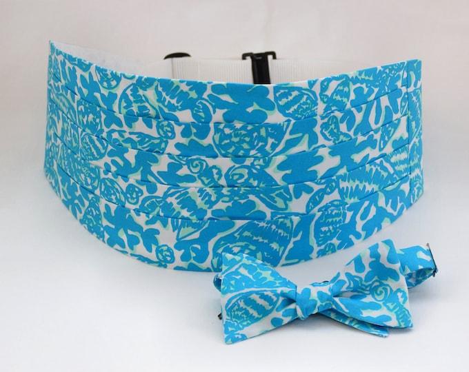 Men's Cummerbund & Bow Tie, turquoise Party Favors Lilly print, wedding cummerbund, men's formal wear, tuxedo accessory, prom cummerbund