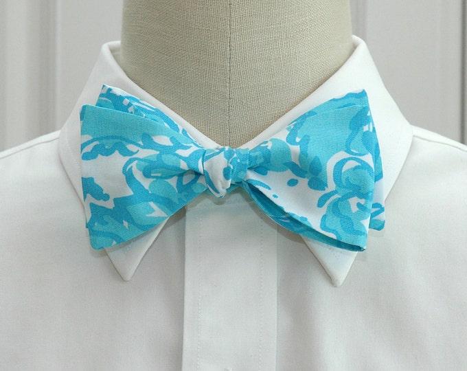Men's Bow Tie, She's a Fox, turquoise/aqua/white Lilly print, groom/groomsmen bow tie, Lilly wedding bow tie, prom bow tie, tuxedo accessory